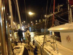 14. Joyful rafted up with a catamaran and Aventura in the first of three Atlantic locks (Gatun locks).