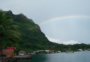 15. From all directions Joyful had an awesome view.  This one shows her view toward the East, with a bright rainbow starting in the lagoon and ending on Mt. Pahia!  Bora Bora is surely the pot of gold!