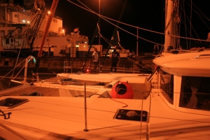 22a. This was the view from Joyful's deck of the other two yachts in her raft; the catamaran and Aventura.