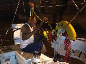 23. Joyful's line handler attached a port stern line.