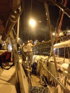 24. Jeff stood on Joyful's starboard deck in first Atlantic lock (Gatun locks).