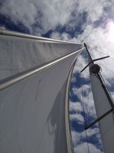 29. Joyful's mast head with jib, genoa, and mainsail.  The round disk on her mast is a radar transceiver.