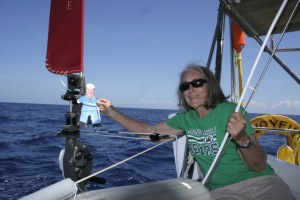 3. Flat Mr. Davis and Anne with Joyful's wind powered Hydrovane steering device.