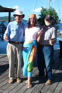 3. Jeff, Anne and Bill posed at the MaiKai Marina and Yacht Club in Vaitape, Bora Bora, French Polynesia, where they and other sailors from yachts in the BPO gathered for a rendezvous.