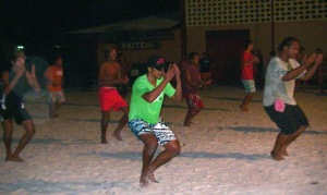 31. Young men from the dance troup, Nunue, practiced Polynesian dances.