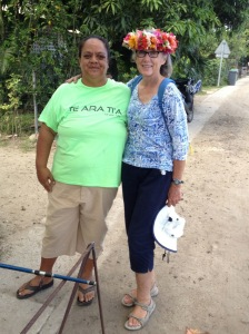 33. Anne posed with the nice local lady from Vaitape, Bora Bora, who made the flower couronne de tete (crown of flowers) from her garden in Bora Bora.  Men and women wear these crowns any time they wish, for every day use, or any occasion.