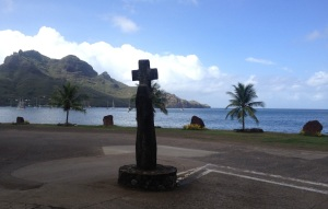 33. This is the view of the bay from the Catholic church. The land there was sacred, and still is to Nuku Hivans.  The land was given to the church by the last queen of Nuku Hiva, generations ago.  Emmanuel & Conchita are her great plus grandchildren.