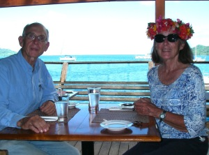 35. Jeff and Anne relaxing at the MaiKai Marina near Joyful in Bora Bora.