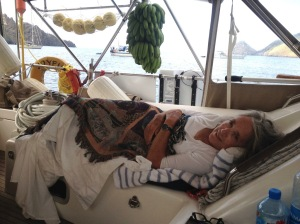 46. Anne at sunrise after sleeping in Joyful's cockpit in Joyful's Nuku Hivan anchorage.  The bananas and pamplemousse Conchita kindly gave them ripen from Joyful's bimini structure.