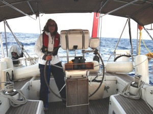 51. Anne at Joyful's helm.  Seas were building!