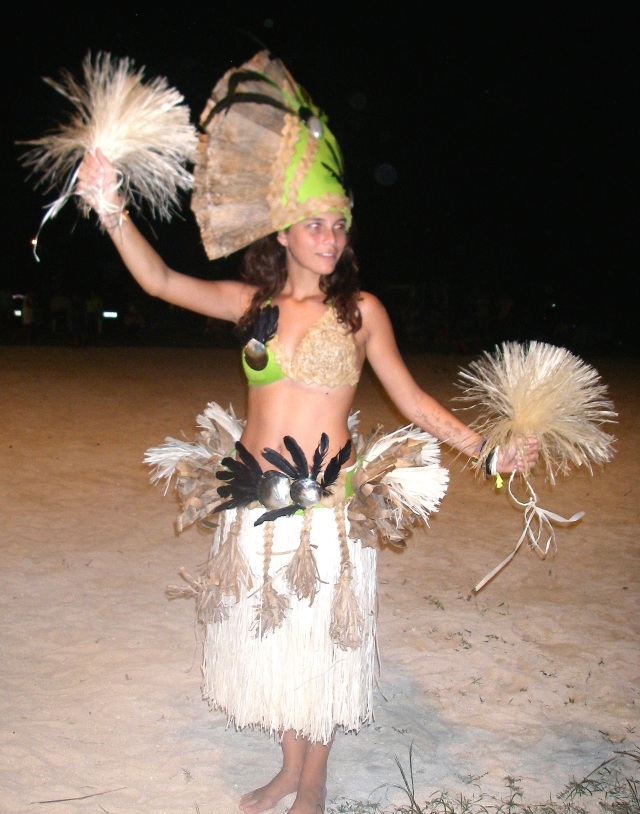10. Beautiful Tamatea wearing the Faanui dance costume her mother and grandmother lovingly made her by hand of plants, shells, and feathers from Bora Bora.