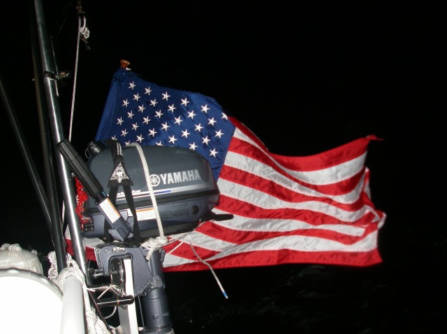 10. Joyful's American ensign on a warm night passage from Bora Bora, bound for Tonga.  We could tell the wind direction and strength from how the ensign flew.  We have modern wind instruments on board, too, of course!