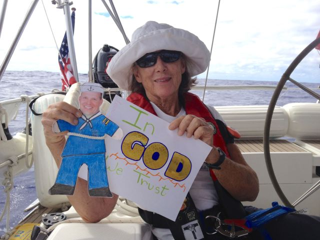 13. Anne and Flat Mr. Davis opened a custom made card made by a kind student from Round Hill Elementary School. The students made us a huge packet of cards to open at sea throughout the circumnavigation! Thank you!  We love you!