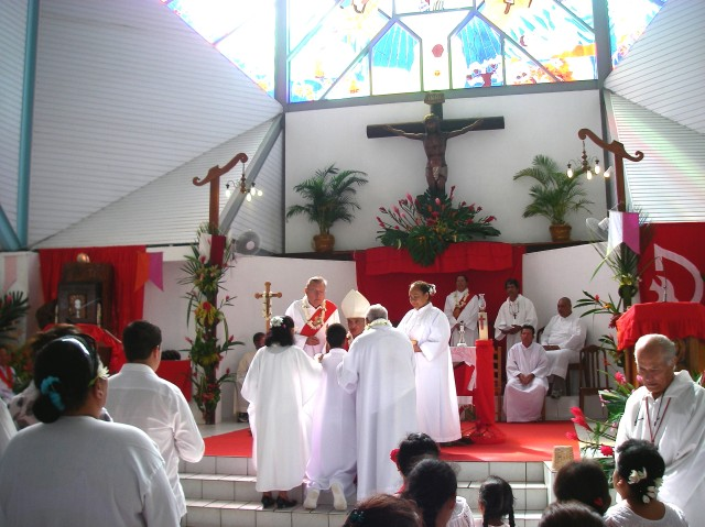 33. We went to a confirmation service in a church in Bora Bora
