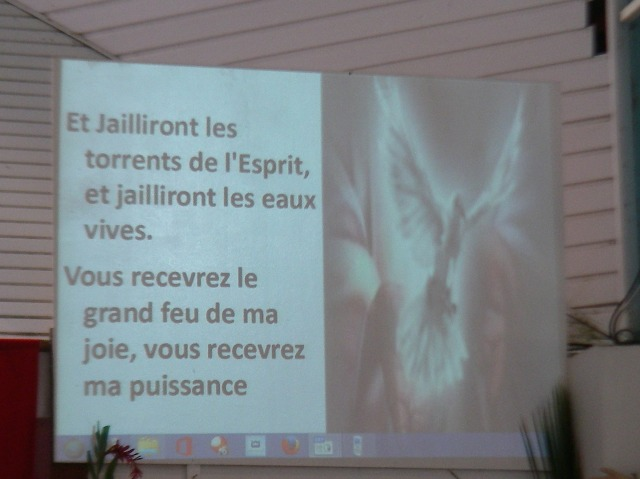 34. The church service was conducted in both French and Polynesian languages.
