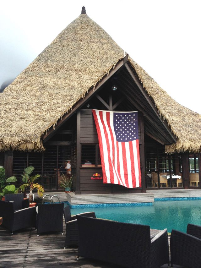 46. Teiva, owner of the MaiKai Yacht Club in Bora Bora, proudly displayed the USA flag on the 4th of July
