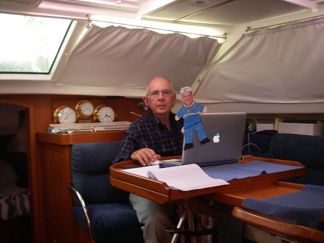 5. Flat Mr. Davis and Jeff did computer work while underway from Bora Bora to Tonga.  We would close Joyful's curtains when necessary to keep the heat of the sun out of her saloon