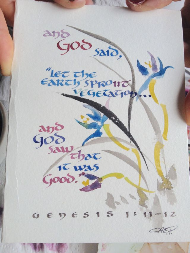 60. Anne made this card during an art ministry workshop in Bora Bora to demonstrate how to integrate a Bible verse with a Chinese brush painting.