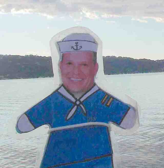 64. Flat Mr. Davis is dressed for sea and ready for the passage from Bora Bora to the Kingdom of Tonga!  Ahoy, Round Hill Bears and everyone!  Prepare for fun and excitement with Joyful on the high seas!