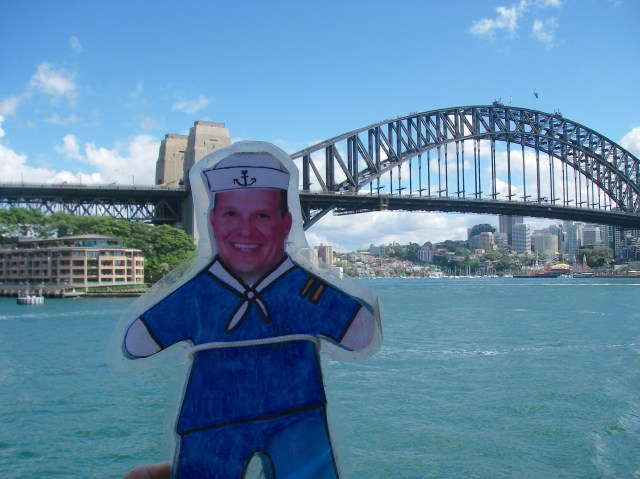 100. Flat Mr. Davis saw the Sydney bridge from a ferry boat another fine day when we visited the ANZAC War Memorial in Sydney.