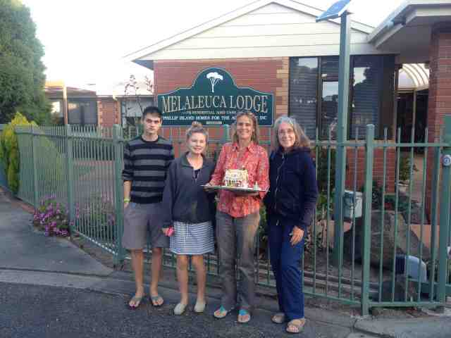 130. Beatrice giving her gingerbread house to the Melaleuca Aged Care Center Phillip Island, Australia