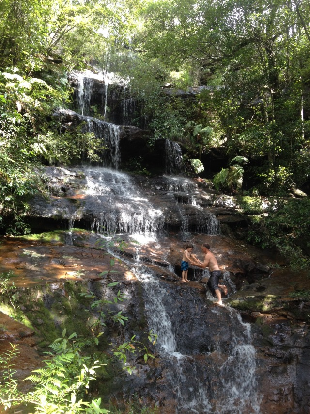 22. One fine day Jeff and I walked to a nearby waterfall with Trent and Jarrah