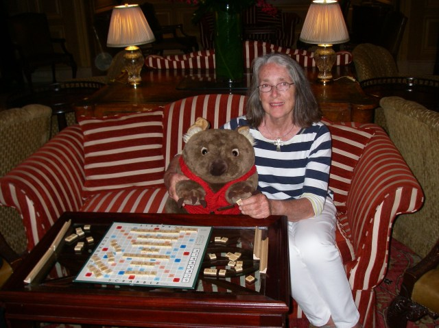 43. Anne playing Scrabble with a wombat friend in Sydney