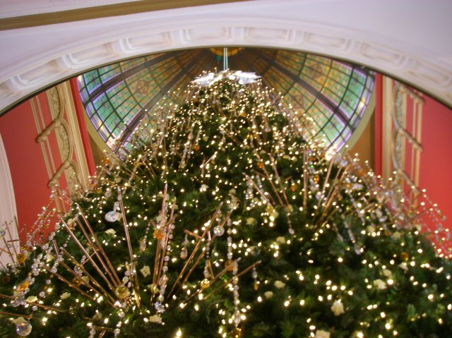 47. The multi story Christmas tree decorated with Swarovski crystals in the Queen Victoria Building